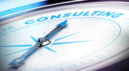 Photo pour Compass with needle pointing the word consulting, blur effect and blue tones  Concept illustration of consultancy - image libre de droit