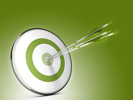 Foto de Three arrows hitting the center of a target over green background. Illustration of strategic objectives success - Imagen libre de derechos