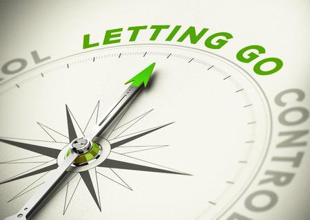 Photo pour Compass, needle pointing the word letting go, Green tones. Illustration of psychology concept. - image libre de droit