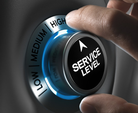 Foto de Button service level pointing the high position with blur effect plus blue and grey tones  Conceptual image for illustration of company performance or customer, satisfaction  - Imagen libre de derechos