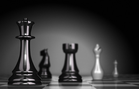 Photo pour Chess Game over black background, illustration of business strategy or positioning - image libre de droit