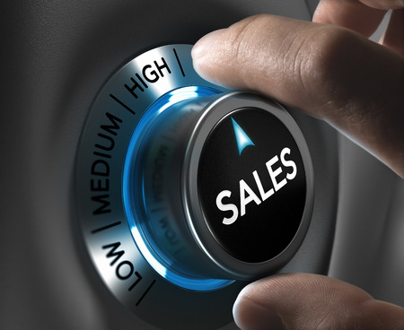 Foto de Sales button pointing the highest position with two fingers, blue and grey tones, Conceptual image for sales strategyor performance - Imagen libre de derechos