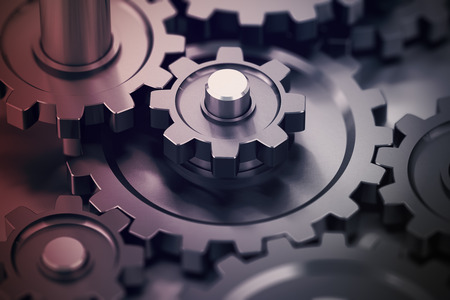 Photo for Concept of teamwork, gears working together, mechanical symbol. - Royalty Free Image