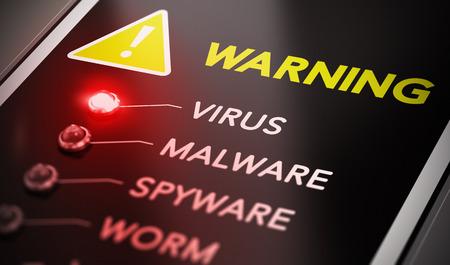 Foto de Virus attack concept. Control panel with red light and warning. Conceptual image symbol of computer infection. - Imagen libre de derechos