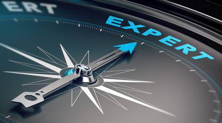Foto de Compass with needle pointing the word expert, concept image to illustrate business consulting and advisory. - Imagen libre de derechos