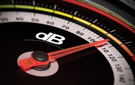 Photo pour Decibel measurement. Gauge with green needle pointing 105 dB, concept of noise level - image libre de droit