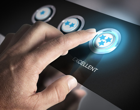 Foto de One finger pressing a three stars button, image concept of best rating or excellent customer service. - Imagen libre de derechos