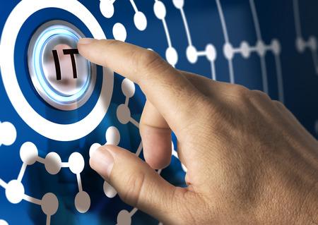 Foto de Finger pressing IT button with network illustration around. Blue tones. Information Technologies concept. - Imagen libre de derechos