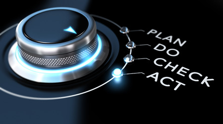 Photo pour Switch button with blue light, black background. Conceptual image for PDCA illustration or business process improvement. - image libre de droit