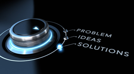 Solution switch positioned on the word solutions over black and blue background. Concept of problem solving.