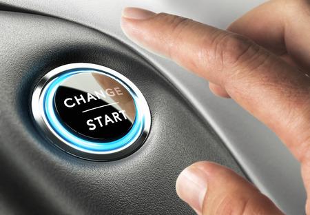 Photo pour Finger about to press a change button. Concept of change management or changing life - image libre de droit