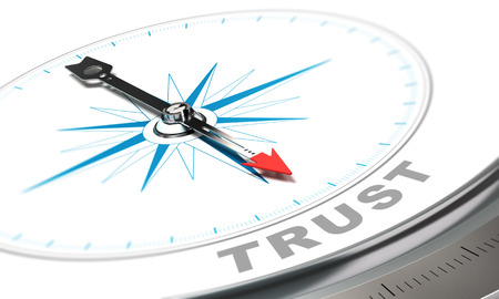 Photo for Compass with needle pointing the word trust, confidence concept over white background. - Royalty Free Image