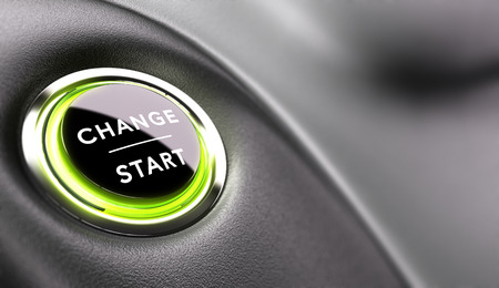 Photo for Finger about to press a change button. Concept of career development or changing life - Royalty Free Image