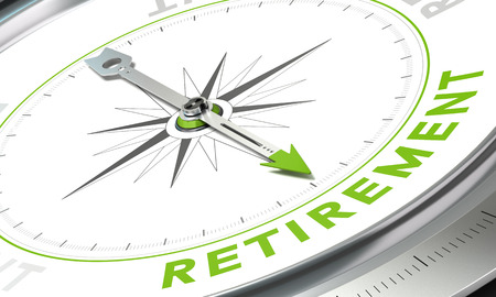 Foto de Compass with needle pointing the word retirement - Imagen libre de derechos