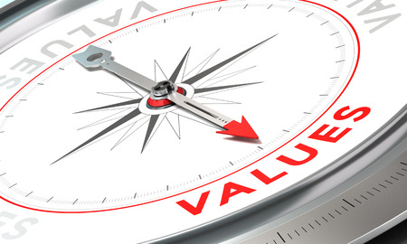 Photo for Compass with needle pointing the word values. Conceptual illustration part three of a company statement, Mission, Vision and Value. - Royalty Free Image