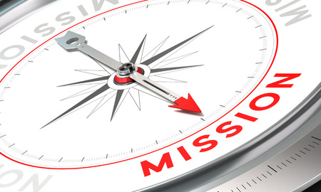 Photo pour Compass with needle pointing the word mission. Conceptual illustration part one of a company statement, Mission, Vision and Value. - image libre de droit