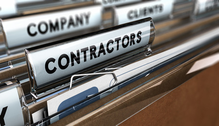 Photo pour Close up on a file tab with the word contractors, focus on the main word and blur effect. Concept image for illustration of contractors or subcontractors company database. - image libre de droit