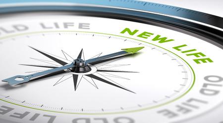 Photo pour Compass with needle pointing the text new life. Conceptual illustration suitable for change motivation. - image libre de droit