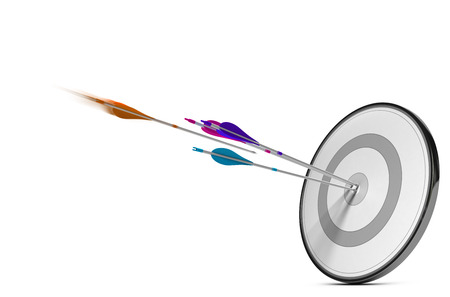 Foto de One target with three colorful arrows hitting the center. Concept image for illustration of successful Marketing strategy plan or advertising success. - Imagen libre de derechos
