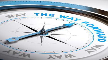 Foto de Compass with needle pointing the text way forward. Conceptual illustration suitable for choice or consulting purpose. - Imagen libre de derechos
