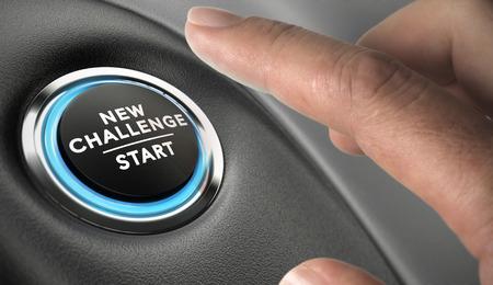 Photo pour Finger about to press a challenge button. Ambitious man, motivation concept. - image libre de droit