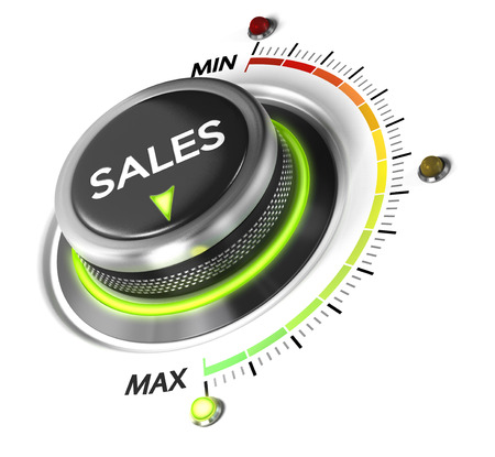 Photo for Sales switch button positioned on maximum, white background and blue light. Conceptual image for sales strategy and growth of incomes. - Royalty Free Image