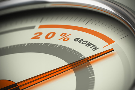 Foto de Dial with the needle surpassing the target of twenty percent growth. Conceptual 3D image for illustration of motivation, KPI and exeed sales objectives. - Imagen libre de derechos