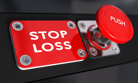 Foto de Stop loss panic button with over black background, finance concept - Imagen libre de derechos