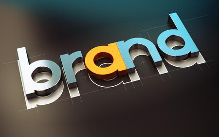 Photo pour Brand name design over black background, 3D concept illustration of company identity. - image libre de droit