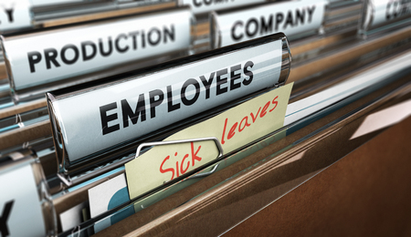 Foto de Close up on a file tab with the word employees plus a note with the text sick leaves, blur effect at the background. Concept image for illustration of sick leave entilement. - Imagen libre de derechos