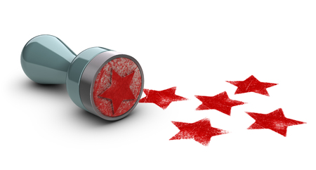 Photo pour Rubber stamp over white background with five stars printed on it. concept image for illustration of high customer experience and quality level. - image libre de droit