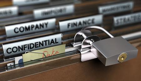 Foto de Concept of poor sensitive data protection, Folder secured with a simple padlock - Imagen libre de derechos