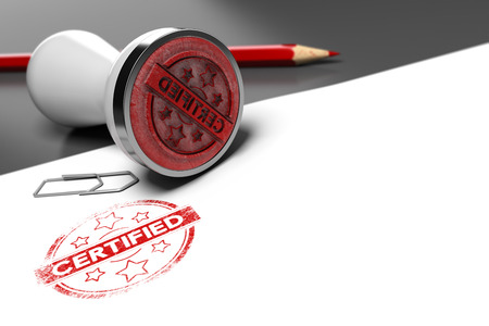 Photo pour Rubber stamp over grey and white background with the text certified printed on it. Concept image for illustration of certification or guarantee certificate. - image libre de droit