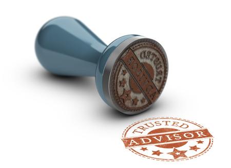 Foto de Trusted avisor rubber stamp over white background. Concept of trust in business. - Imagen libre de derechos