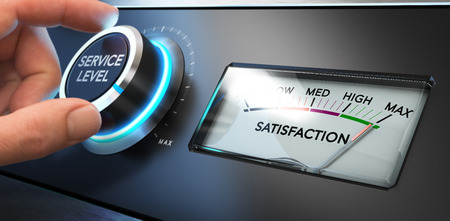 Photo pour Hand turning a service level knob up to the maximum with a dial where it is written the word satisfaction. Concept image for illustration of Key Performance Indicator, KPI or customer loyalty. - image libre de droit