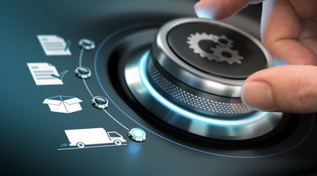 Foto de Hand turning a process knob with gears symbols. Concept of e-commerce. Composite image between a photography and a 3D background. - Imagen libre de derechos