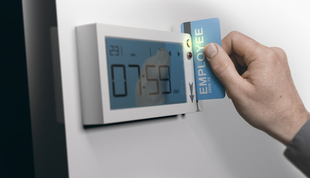 Photo pour Employee swiping personal card in swipe-card system, horizontal image. Concept of punctuality at work. Composite between an image and a 3D background - image libre de droit