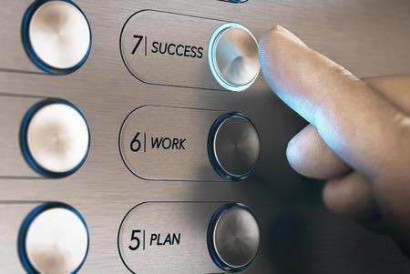 Foto de Man pushing an elevator button where it is written he word success. Successful career evolution concept. Composite image between a hand photography and a 3D background. - Imagen libre de derechos