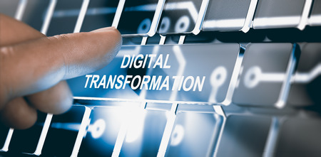 Foto de Finger pressing a digital button with the text digital transformation. Concept of digitalization of business processes. Composite between a photography and a 3D background. Horizontal image - Imagen libre de derechos