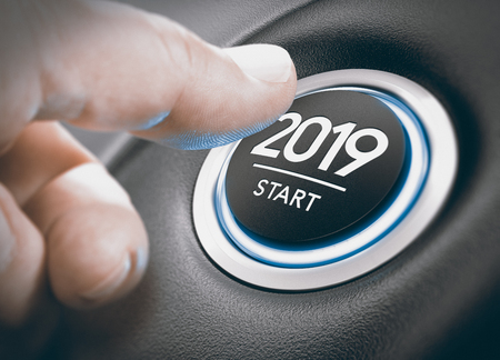 Photo for Finger pressing a 2019 start button. Concept of new year, two thousand nineteen. Composite between a photography and a 3D background - Royalty Free Image