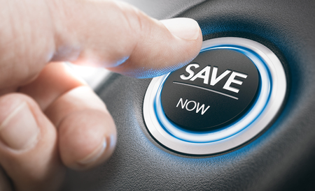 Foto de Man pushing a start button with the text save now. Concept of car offers or discount. Composite image between a finger photography and a 3D background. - Imagen libre de derechos