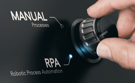 Foto de Hand turning a knob over dark grey background and selecting RPA (Robotic Process Automation) mode. Artificial Intelligence concept. Composite image between a hand photography and a 3D background. - Imagen libre de derechos