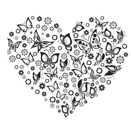 Illustration pour Vector illustrations black and white butterfly and flowers in heart shape. - image libre de droit