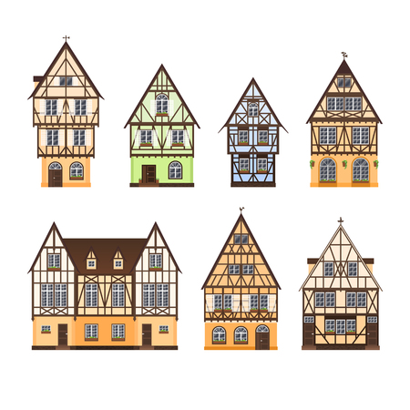 Ilustración de Set of isolated colored half timbered buildings on white background. Collection of flat facades of european framing houses, cottages - Imagen libre de derechos