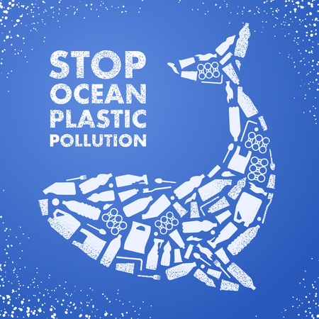 Ilustración de Stop ocean plastic pollution. Ecological poster. Whale composed of white plastic waste bag, bottle on blue background - Imagen libre de derechos