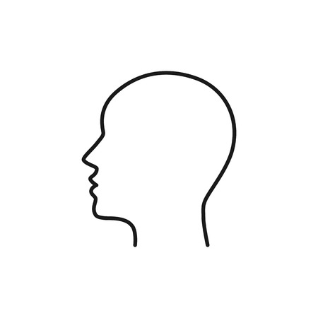 Illustration pour Black isolated outline icon of head on white background. Line Icon of head. Profile - image libre de droit