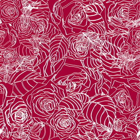 Illustration pour Seamless floral pattern with of outline roses on red background  Vector background  - image libre de droit