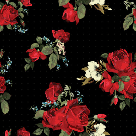 Illustration pour Abstract seamless floral pattern with of red roses on black background  Vector illustration  - image libre de droit