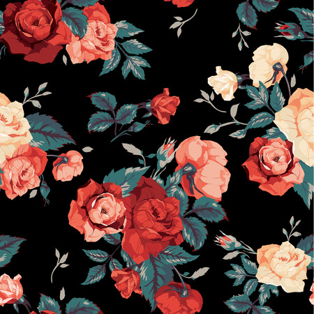 Illustration pour Seamless floral pattern with of red and orange roses on black background  Vector illustration  - image libre de droit