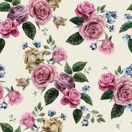 Illustration pour Seamless floral pattern with of pink roses on light background, watercolor  Vector illustration  - image libre de droit